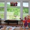 Hen House living room overlooking the vineyard.